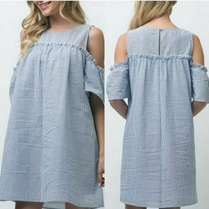 Andree Blue & White Cold Shoulder Shift Dress